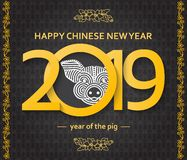 Chinese New Year background with creative stylized pig vector illustration