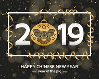 Chinese New Year background with creative stylized pig stock illustration