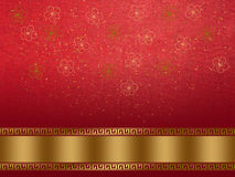 Chinese new year background. Flower symbol pattern on red silk texture stock photography