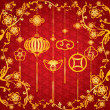 Chinese New Year Background with golden decoration royalty free illustration