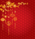 Chinese New Year Background with golden decoration Stock Photography