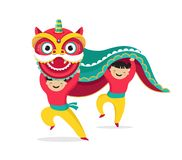 Chinese New Year background, greeting card with a lion dance, red dragon character. Chinese New Year background, greeting card template with a lion dance, red royalty free illustration