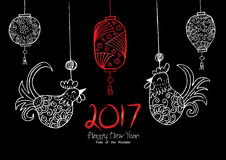 Chinese New Year background. With hanging rooster and lantern Stock Images