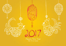 Chinese New Year background. With hanging rooster and lantern Stock Photography