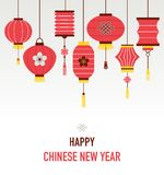 Chinese New Year background with lanterns. Vector illustration