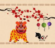 Chinese new year 2018 background lion dance royalty free illustration