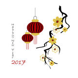 Chinese new year. Background for 2017 Chinese new year. Vector illustration. Black lettering 2017 new year, blossom branch and lanterns Royalty Free Illustration