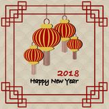 Chinese new year. Background for 2018 Chinese new year. Vector illustration. Black lettering 2018 new year and decorated with Chinese lantern Stock Illustration