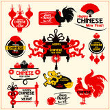 Chinese New Year badge, label and stamp set. Chinese New Year badge set. Silhouette of rooster, lantern, dragon, fortune coin, folding fan, mandarin orange Stock Photos