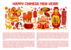 Chinese New Year banner with asian holiday symbols. Chinese New Year poster with asian holiday symbols. Oriental lantern, zodiac dog and dragon, god of Stock Images