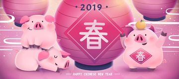 Chinese new year banner with chubby pigs and big red lanterns, spring word written in Chinese characters stock illustration
