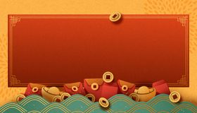 Chinese new year. Banner with gold ingot and red envelopes elements in paper art style vector illustration