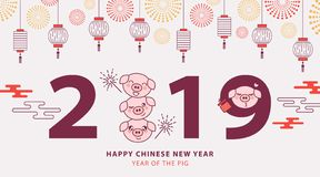 Chinese New Year 2019 banner, poster or greeting card with cute piglets, traditional lanterns and fireworks