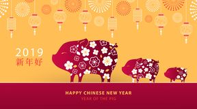 Chinese New Year 2019 banner, poster or greeting card with cute piglets, traditional lanterns and fireworks. Symbol of Chinese Year of the Pig. Chinese stock illustration