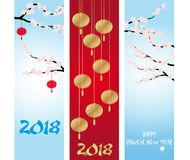 Chinese New Year banners collections. Chinese New Year Banners with Cherry spring blossom and lanterns royalty free illustration