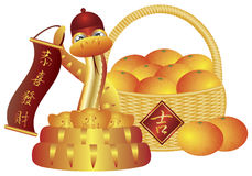Chinese New Year Basket of Oranges and Snake. Chinese New Year Basket of Mandarin Oranges and Snake with Good Fortune Text Symbol on Sign Isolated on White Royalty Free Illustration