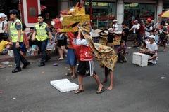 Chinese New Year in Binondo Manila. Street children dragon dance version Royalty Free Stock Image
