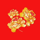 Chinese New Year Blooming Peony Flower. Golden stock illustration