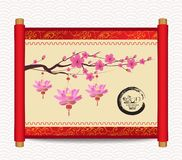 Chinese new year with blossom and lantern. Traditional Chinese handscroll of painting Royalty Free Stock Photo