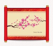Chinese new year with blossom. Traditional Chinese handscroll of painting Stock Images