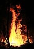 Chinese New Year Bonfire, Chiang Khong, Thailand. Bonfire slowly burns at night on the banks of the Mekong for Chinese New Year in Chiang Khong, Thailand Royalty Free Stock Images