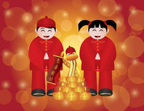 Chinese New Year Boy and Girl with Snake. Chinese Lunar New Year 2013 Boy and Girl and Snake with Gold Bars and Banner Text Wishing Happiness and Prosperity on Vector Illustration