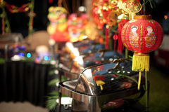 Chinese New Year Buffet Setting. Line up of a chaffing dish on a buffet Chinese New Year