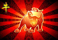 Chinese New Year of The Bull card Royalty Free Stock Photos