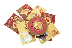 Chinese New Year Cake and Red Envelopes Stock Photos