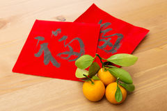Chinese new year calligraphy and kumquat, word meaning is good l Stock Photo
