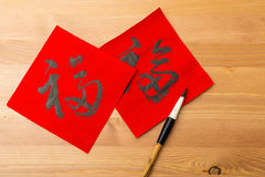 Chinese new year calligraphy, word meaning is good luck. Chinese new year calligraphy on the wooden background , word meaning is good luck stock images