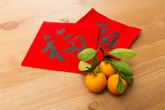 Chinese new year calligraphy, word meaning is good luck Stock Photography