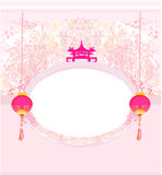 Chinese New Year card. Floral background with Chinese Lanterns vector illustration