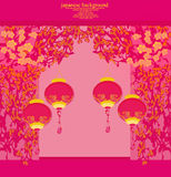 Chinese New Year card. Floral background with chinese lanterns royalty free illustration