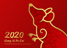 Chinese new year 2020 card with abstract gold border line rat zodiac and abstract flower texture on red background vector design stock illustration