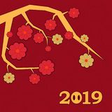 Chinese new year 2019 card with abstract gold bordertree with red and gold flowers on red background. Modern design of new year poster. Vector illustration stock illustration
