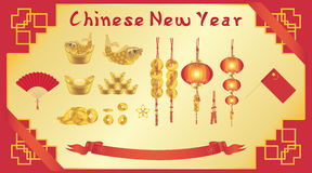 Chinese New Year card with chinese fan gold ingot coin lantern flag Royalty Free Stock Image