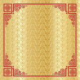 Chinese New Year gold frame decoration. Chinese New Year 2019 greeting card gold background, decorative gold textured foil pattern with red traditional Stock Images