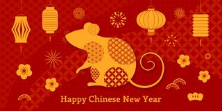 2020 Chinese New Year card. 2020 Chinese New Year greeting card with rat silhouette, fireworks, lanterns, flowers, text, golden on red background. Vector stock illustration