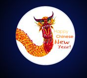 Chinese New Year card with hand sketched dragon stock images