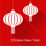 Chinese new year card with hanging lanterns, illustration. Background, flat design vector illustration