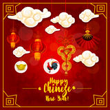 Chinese New Year card with lantern and rooster Royalty Free Stock Images