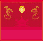 Chinese New Year card. With lanterns and dragons stock illustration
