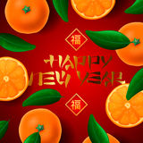 Chinese New Year card, with orange mandarines. Happy Chinese New Year greeting card, with orange mandarines background, vector illustration Stock Photography