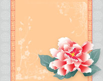 Chinese New Year Card Peony. Chinese New Year Peony Greeting Card Template