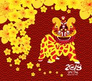 Chinese New Year card with plum blossom and lion dance in traditional chinese background Royalty Free Stock Photos