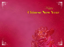 Chinese New Year Card Template. With Oriental Lion Royalty Free Stock Photos