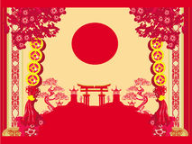 Chinese New Year card. Traditional lanterns and Asian buildings stock illustration