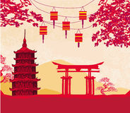 Chinese New Year card - Traditional lanterns and Asian buildings. Illustration vector illustration