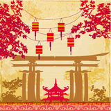 Chinese New Year card - Traditional lanterns and Asian buildings Stock Image